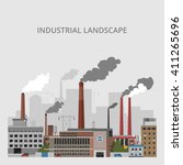 industrial landscape.... | Shutterstock .eps vector #411265696