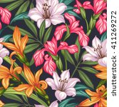 seamless exotic pattern with... | Shutterstock .eps vector #411269272