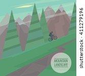 spring picturesque mountain... | Shutterstock .eps vector #411279196