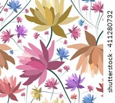 floral patten with lotus... | Shutterstock .eps vector #411280732