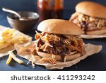 homemade pulled pork burger... | Shutterstock . vector #411293242
