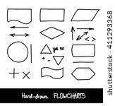 hand drawn flowchart design... | Shutterstock . vector #411293368