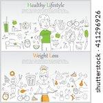 doodle line design of web... | Shutterstock .eps vector #411296926