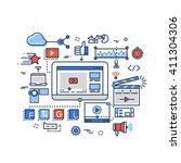 video production  media digital ... | Shutterstock .eps vector #411304306