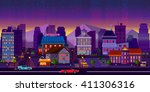 city game background 2d game... | Shutterstock .eps vector #411306316