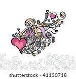 Heart of love / doodle vector illustration / layers are separated - stock vector