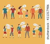set of cartoon speaking people... | Shutterstock .eps vector #411317986