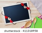 flat lay photo of kitchen tools ... | Shutterstock . vector #411318958