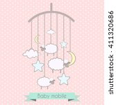 baby mobile with little lambs ... | Shutterstock .eps vector #411320686