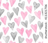 watercolor hearts seamless... | Shutterstock .eps vector #411321706