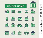 houses  home icons  | Shutterstock .eps vector #411322978