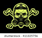 skull wearing a gas mask and...