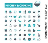 kitchen cooking icons  | Shutterstock .eps vector #411334162