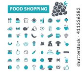 food shopping icons  | Shutterstock .eps vector #411336382