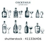 hand sketched bottles and... | Shutterstock .eps vector #411336406