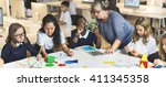 classroom learning mathematics... | Shutterstock . vector #411345358