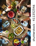 tasty dinner | Shutterstock . vector #411352546