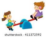 cartoon child on a playground...   Shutterstock . vector #411372592