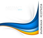 orange and blue curve wave line ... | Shutterstock .eps vector #411376216