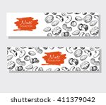vector hand drawn nuts banners. ... | Shutterstock .eps vector #411379042