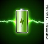 fully charged green battery and ... | Shutterstock .eps vector #411384268