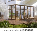 sun terrace of a private house. ... | Shutterstock . vector #411388282
