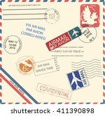 vintage air mail envelope with... | Shutterstock .eps vector #411390898