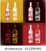 wine bottle glass design menu... | Shutterstock .eps vector #411396982