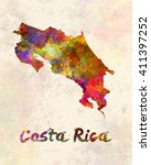 costa rica map in watercolor | Shutterstock . vector #411397252