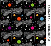 seamless  dragonfly pattern.... | Shutterstock .eps vector #411398986
