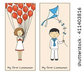 communion cards. girl and boy | Shutterstock .eps vector #411403816