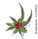 sprig of european holly  ilex... | Shutterstock .eps vector #41140912