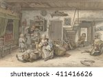 interior with peasant family ... | Shutterstock . vector #411416626