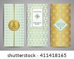 set of golden brochures with... | Shutterstock .eps vector #411418165