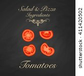 salad and pizza ingredients  ...   Shutterstock .eps vector #411420502