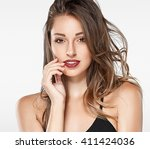 beautiful woman red lips fly... | Shutterstock . vector #411424036
