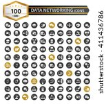 100 data networking icons clean ... | Shutterstock .eps vector #411436786
