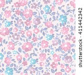 seamless cute floral vector... | Shutterstock .eps vector #411442342