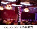 Retro Microphone On Stage In A...