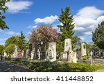 Small photo of VIENNA, AUSTRIA - APR 26, 2015: view to Vienna Central Cemetery, the place where famous austrian people are burried like Strauss, Beethoven and Mozart.