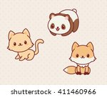 Stock vector kawaii animals set part vector illustration of cute animals kitten panda fox 411460966