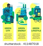 green city set. environmental... | Shutterstock .eps vector #411487018