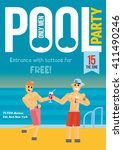 gay pool party. template for... | Shutterstock .eps vector #411490246