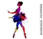 ballerina dancing. watercolor...   Shutterstock .eps vector #411494566