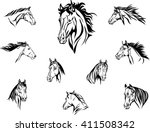 Stock vector horse head illustrations set 411508342