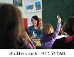 happy young teacher woman at... | Shutterstock . vector #41151160