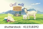 mountain landscape with goat... | Shutterstock .eps vector #411518392
