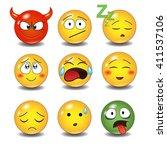 set of emoticons | Shutterstock .eps vector #411537106
