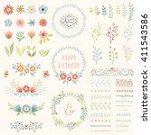 floral design set. vector... | Shutterstock .eps vector #411543586