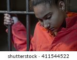 people in jail   young woman... | Shutterstock . vector #411544522